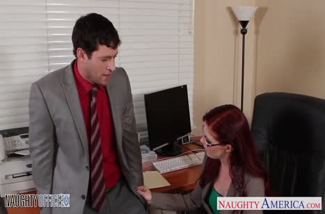 Рыжая Penny Pax прыгает верхом на мужике в кресле №2